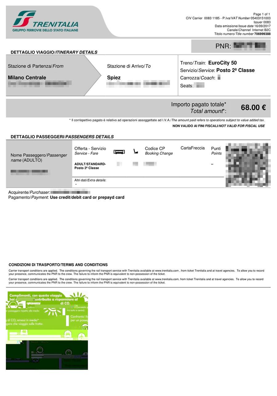 ミラノ→シュピーツ ユーロシティのチケット