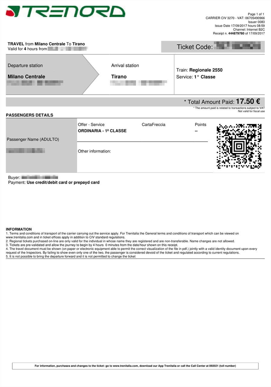 ミラノ→ティラノ イタリア国鉄のチケット 安い