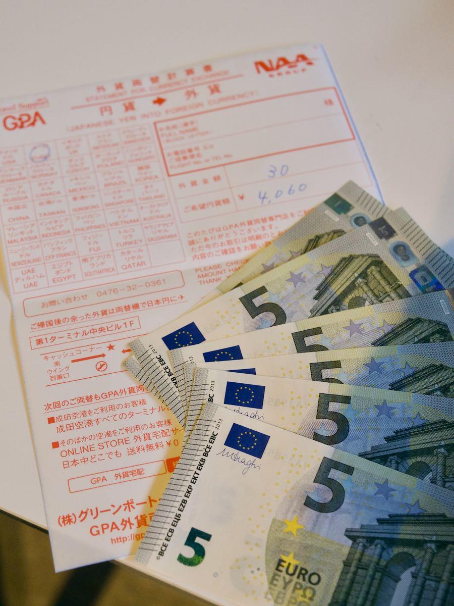 5ユーロ札6枚と4,060円の領収書 撮影:DMC-GX8 + LEICA DG 12-60mm