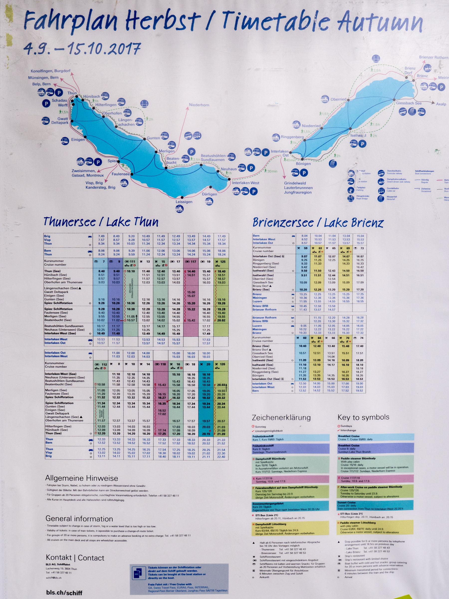 トゥーン湖連絡船の時刻表 DMC-GX8 + LEICA DG 12-60mm
