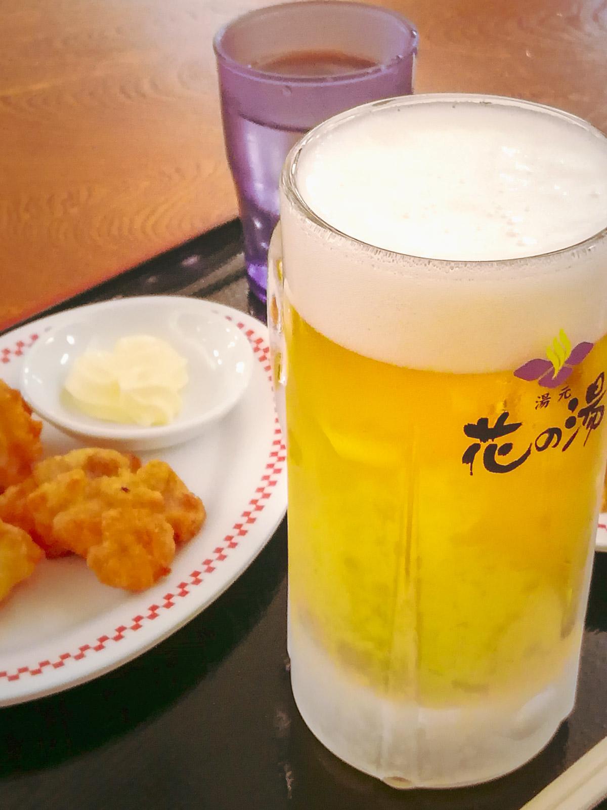 函館「花の湯」キリキリに冷えた生ビール450円