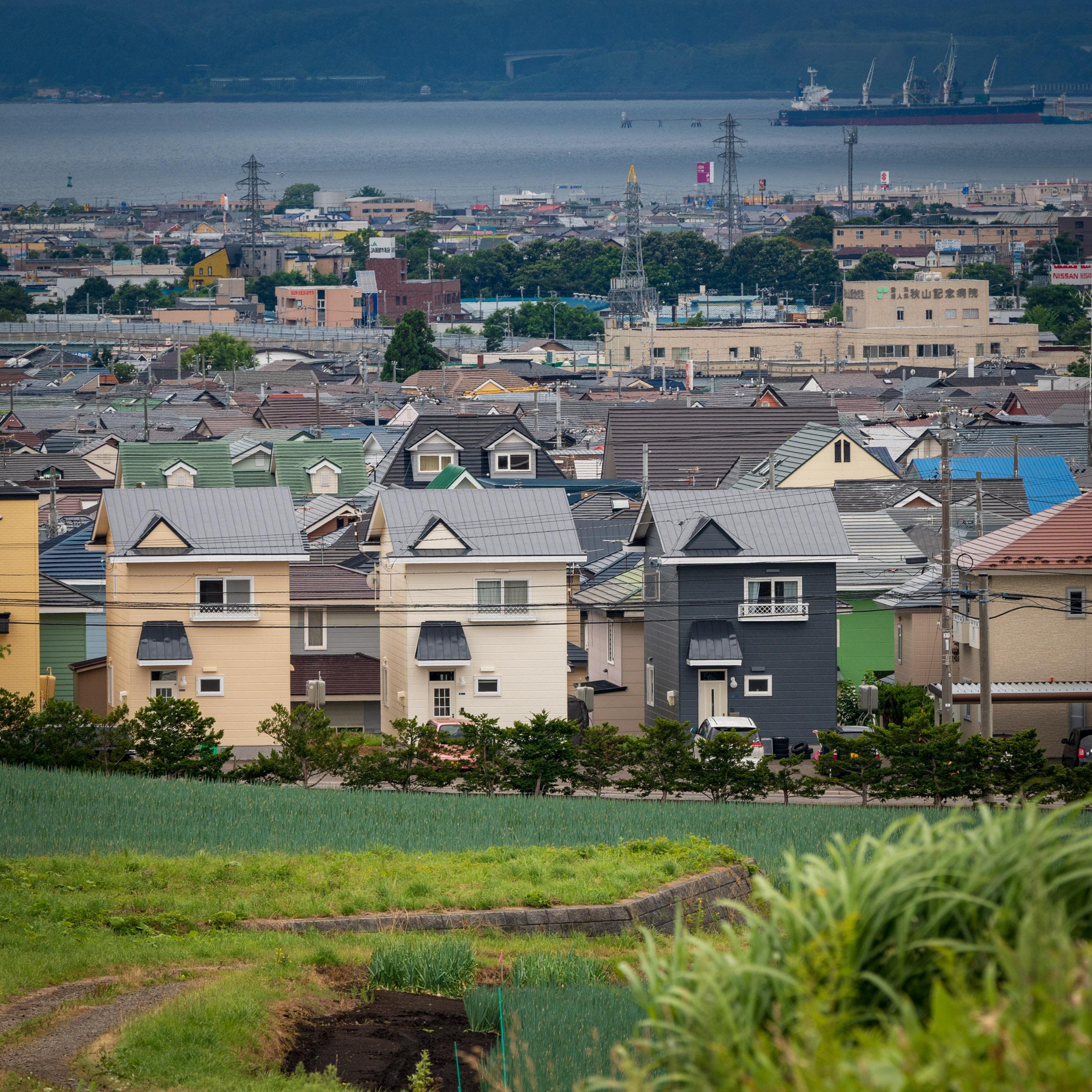 亀田中野の丘から捉えた北美原~西桔梗町~七重浜方面の街並みと函館湾