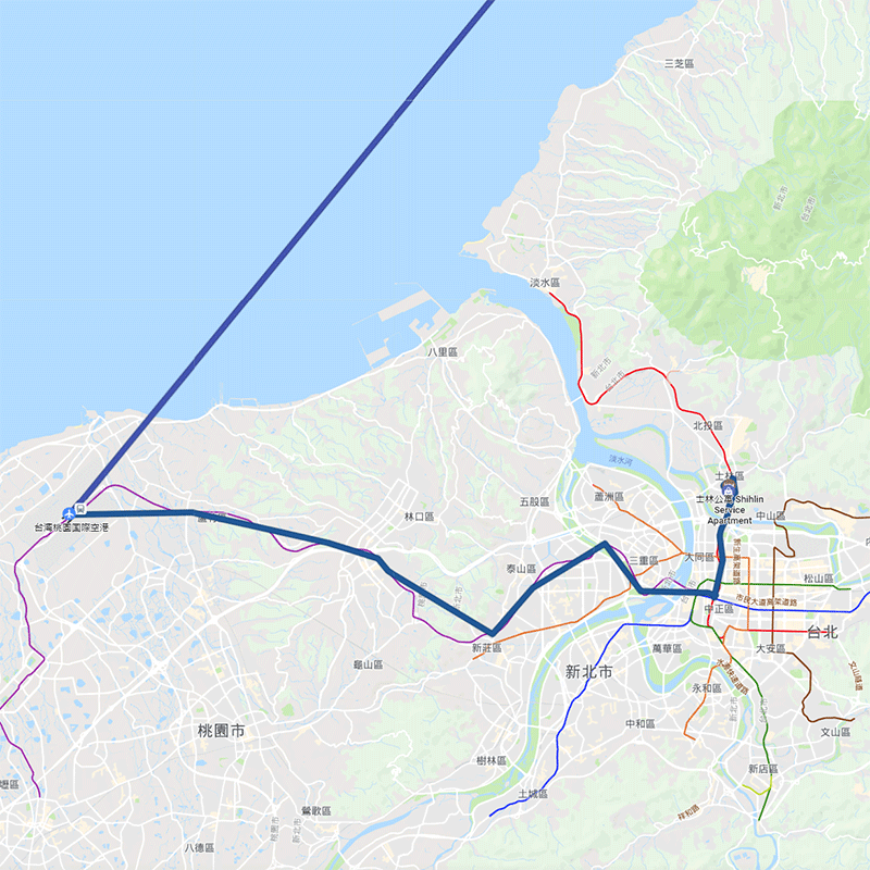2018年6月14日のタイムライン2 台北桃園空港から士林サービスアパートメント