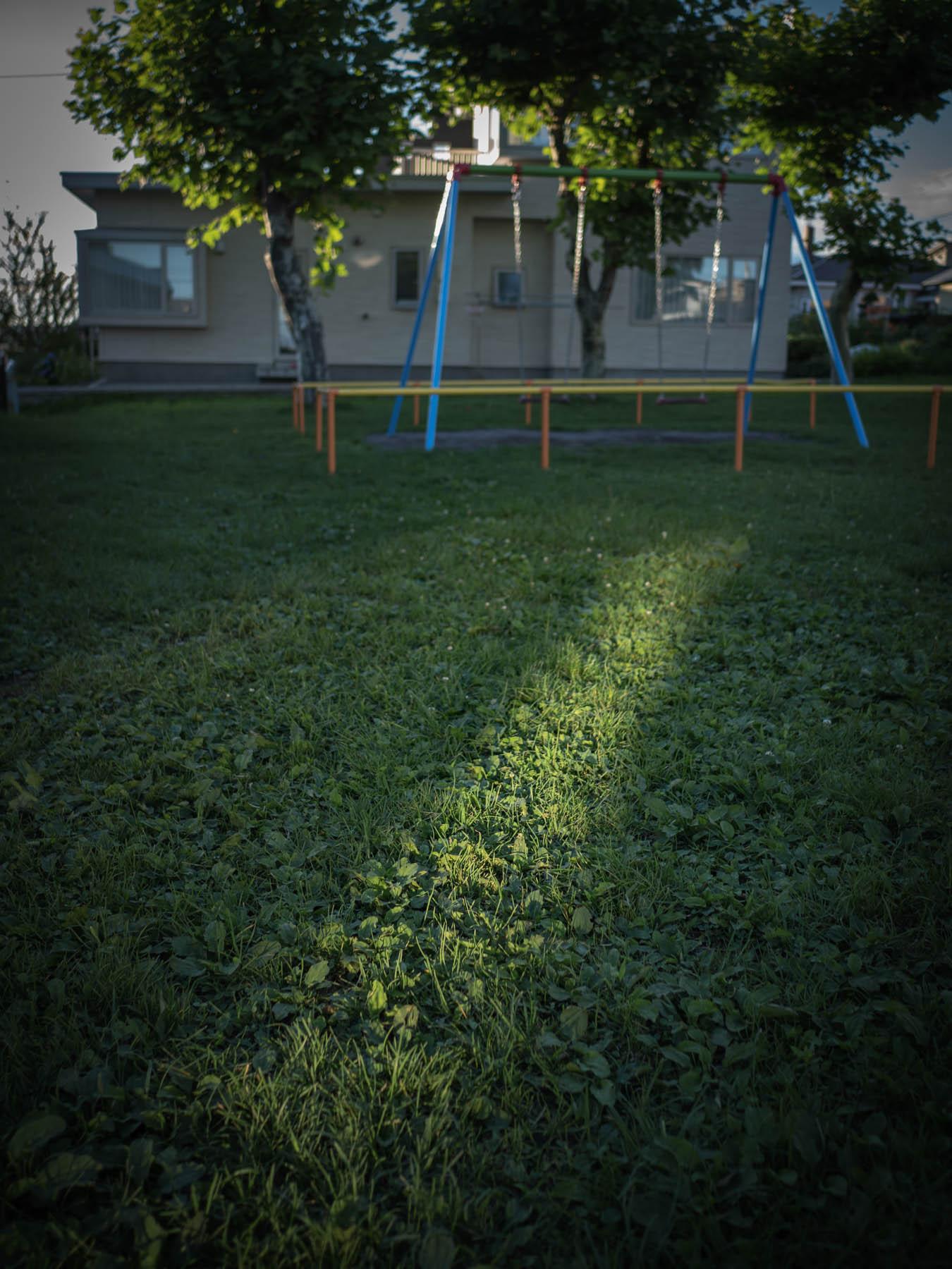 芝生の上の一筋の残照