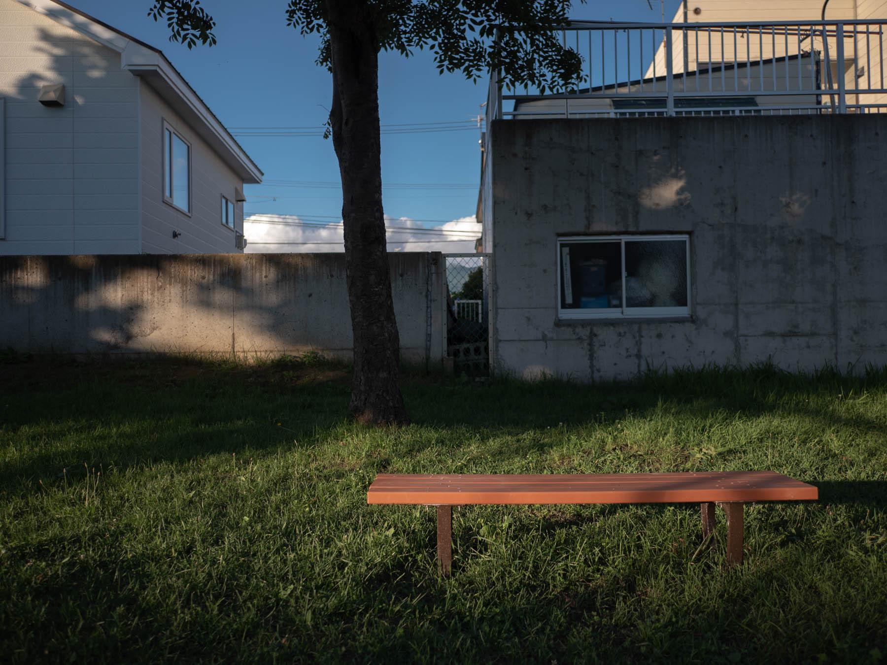 夕陽のスポットライトを浴びるレッドブラウンのベンチ