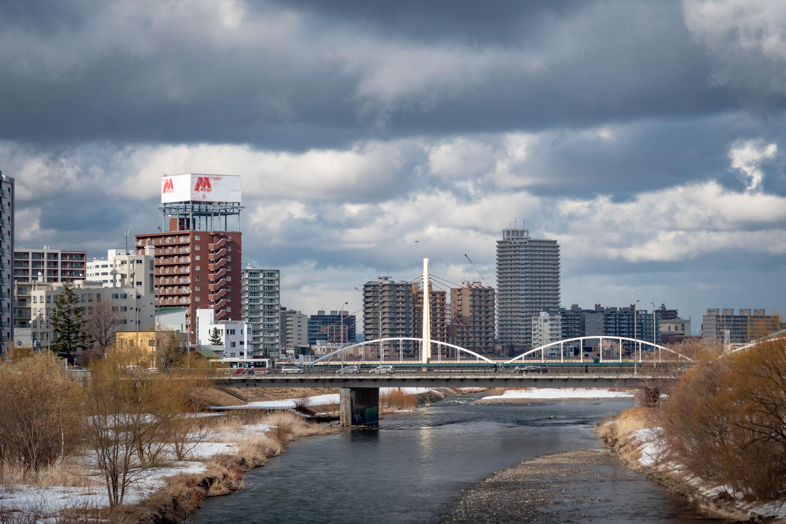 南七条大橋から見た豊平川と豊平橋 DMC-GX8 + LEICA DG 12-60mm