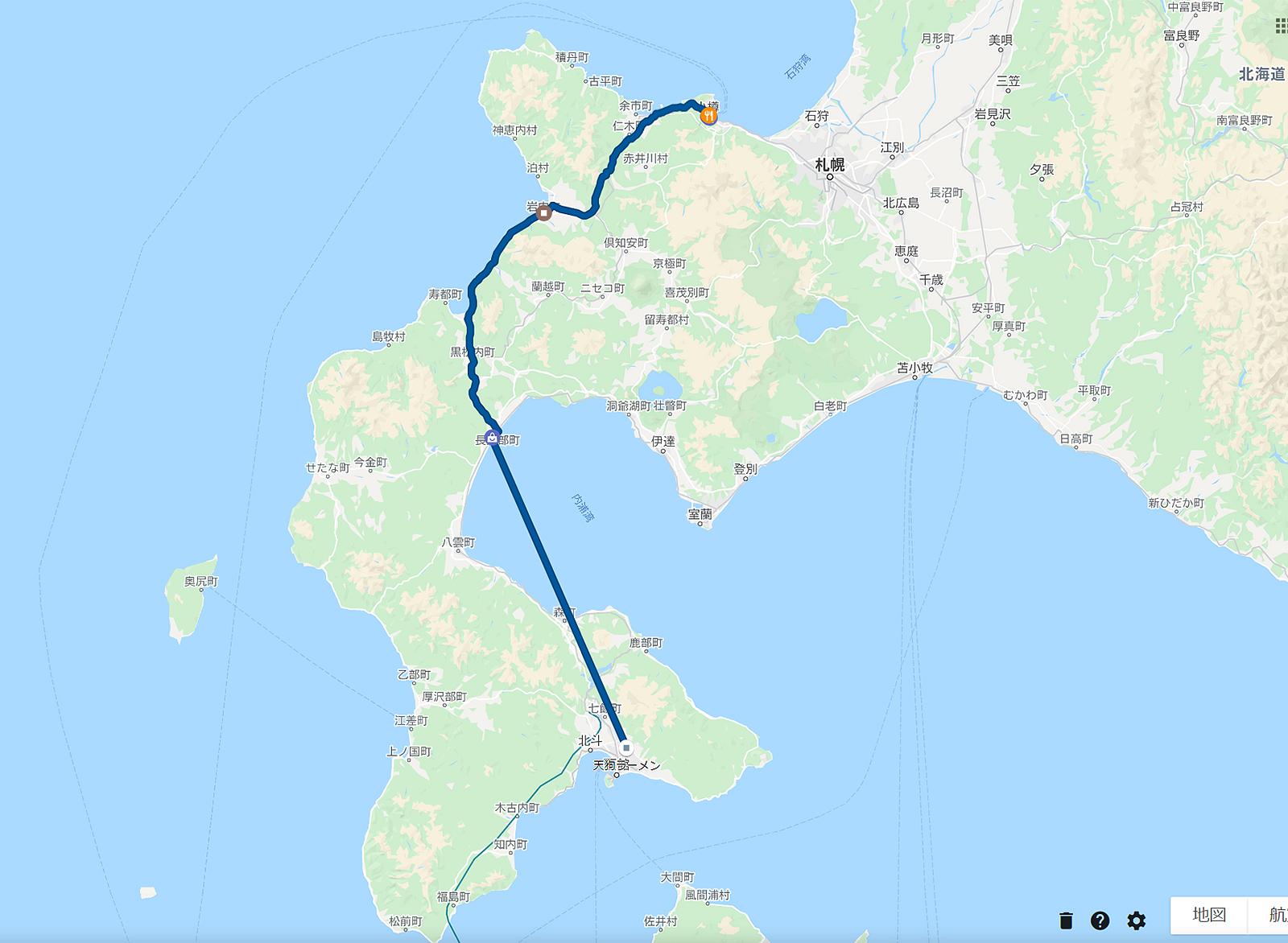 2020年3月22日のタイムライン  函館から道の駅いわない経由で小樽まで車で移動