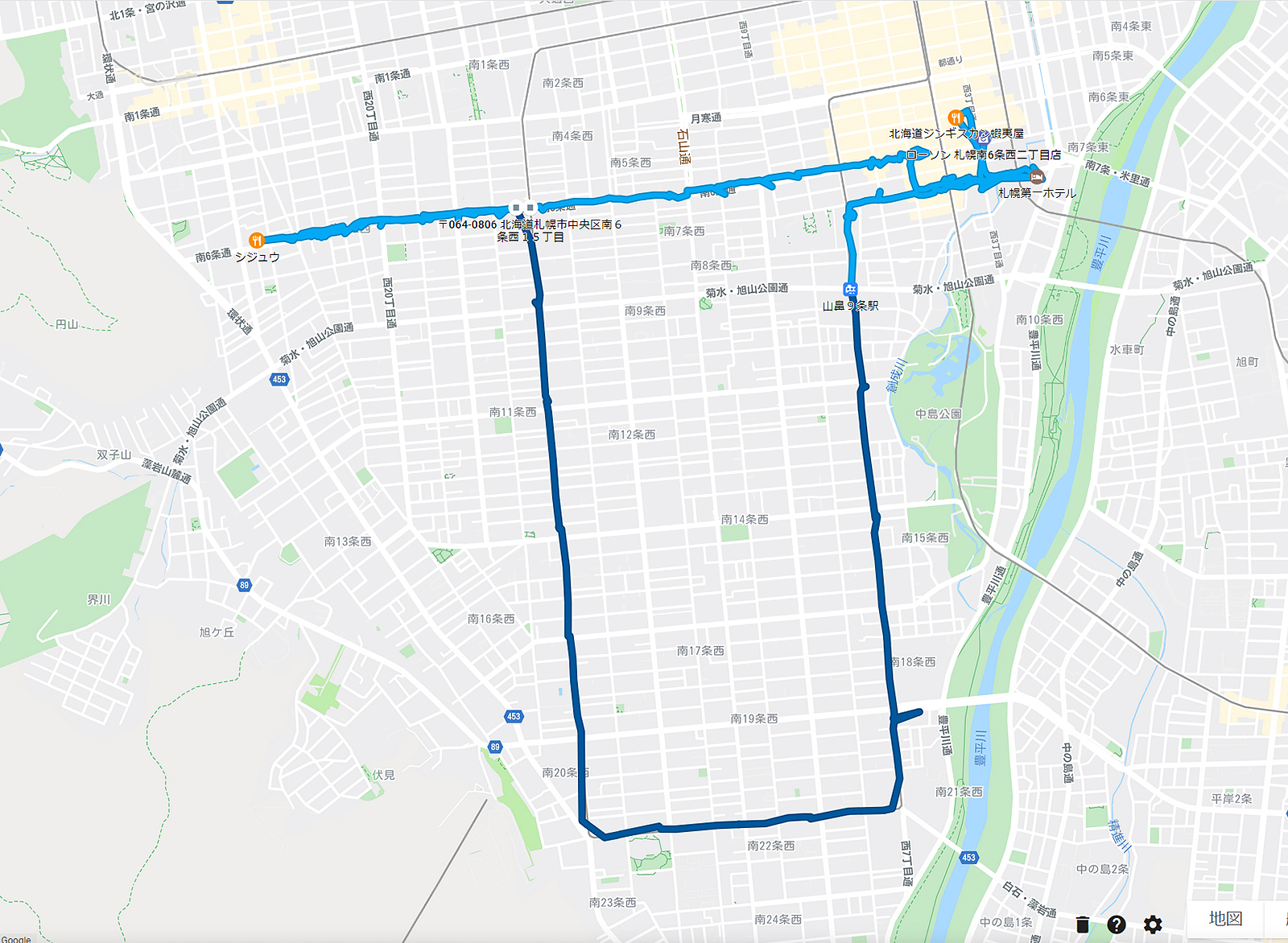 2020年3月25日のタイムライン ホテルからシジュウ、ジンギスカン蝦夷屋など、徒歩と路面電車で移動